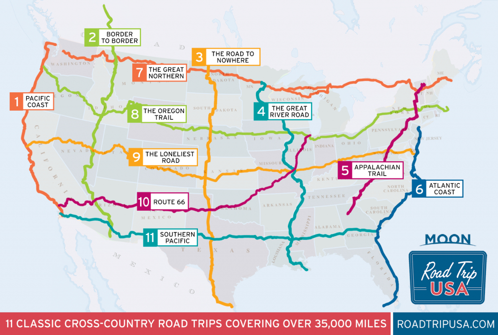 11 Epic Cross-Country American Road Trips   Road Trip Usa - California To Florida Road Trip Map