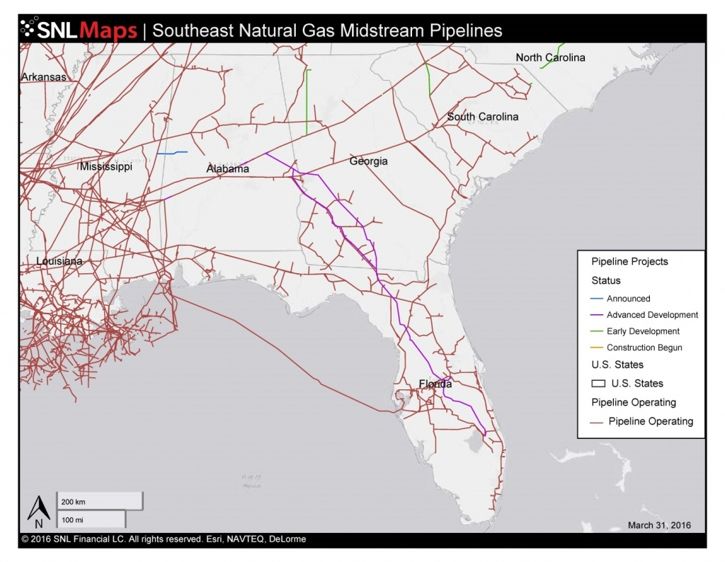 1448×1123 Map Of Southeast Mid-Stream Natural Gas Pipelines, In - Gas Availability Map Florida
