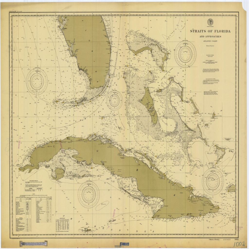 18 X 24 Inch 1900 Us Old Nautical Map Drawing Chart Of Straits Of - Boating Maps Florida