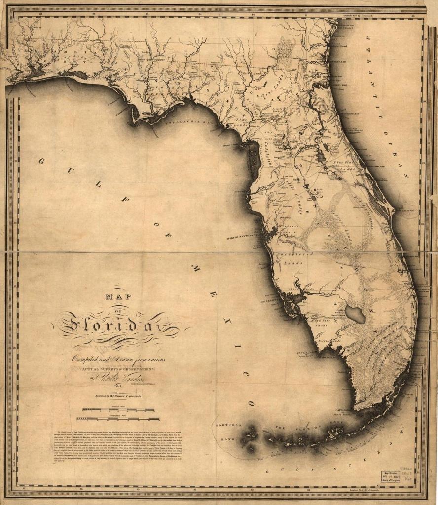 1823, Florida State Map, Florida, United States | Me Likey | Florida - Framed Map Of Florida