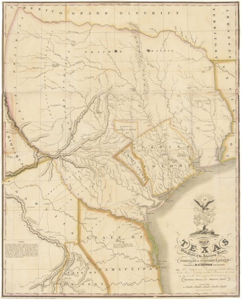 """1830 First Edition Of The Austin Map Of Texas: """"The Map Of Texas I - Stephen F Austin Map Of Texas"""