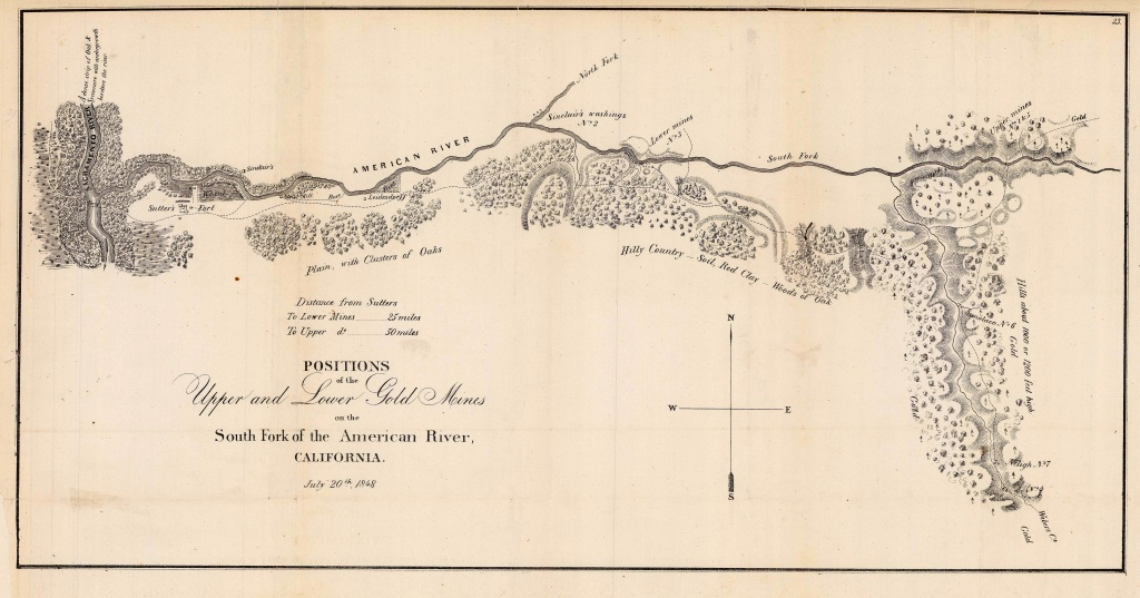 1848 Map Of Gold Mines On The South Fork Of The American River - - California Gold Mines Map