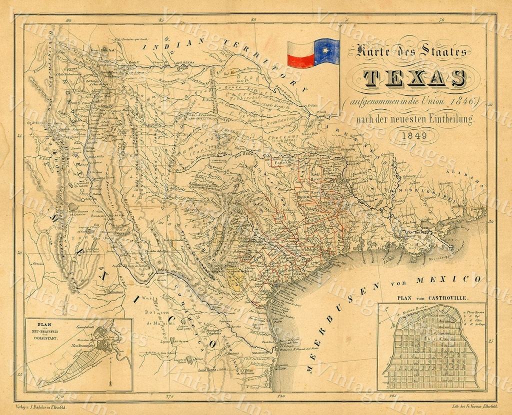 1849 Map Of Texas Old Texas Map, Texas, Map Of Texas, Vintage - Old Texas Map Wall Art
