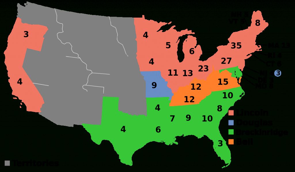 1860 United States Presidential Election - Wikipedia - 5 Regions Of The United States Printable Map