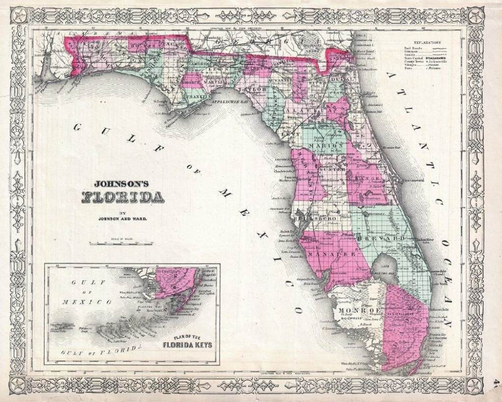 1864 Johnson Map Florida Geographicus Map Poster, Canvas, - Florida Map Poster
