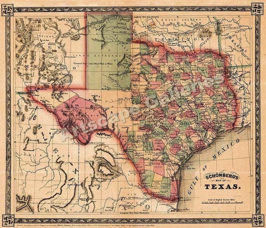 1866 Schönberg's Map Of Texas Historic Map 24X28 #vintage | Family - Texas Historical Maps