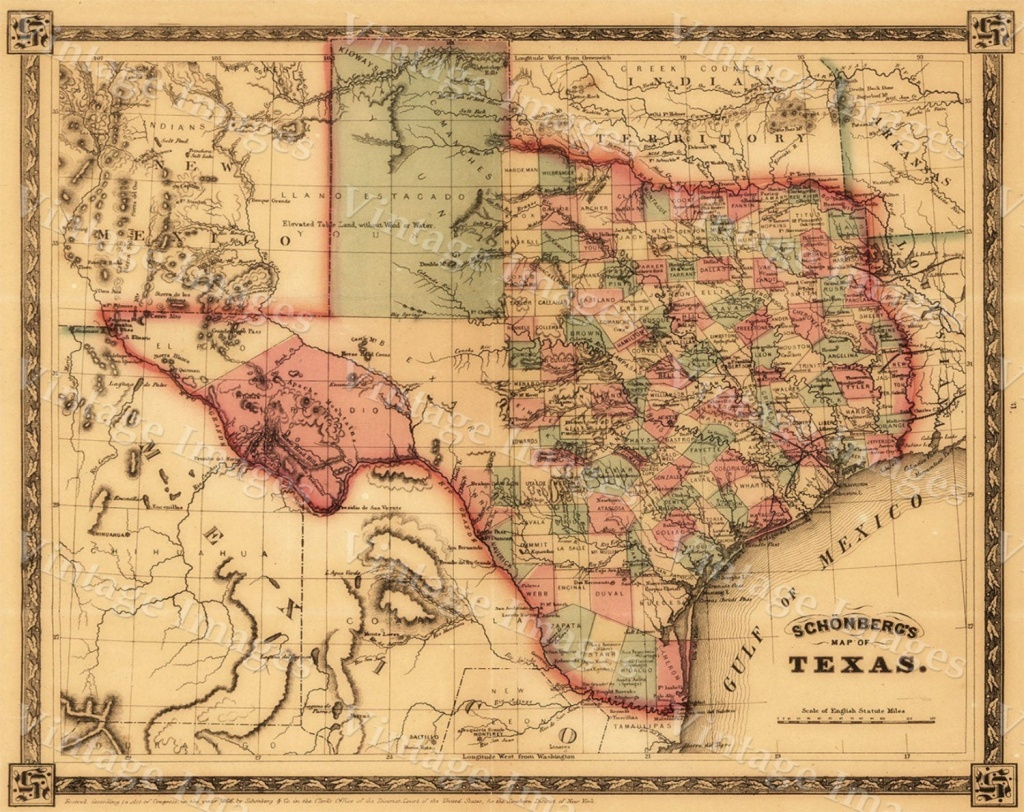 1866 Texas Map Old West Map Antique Texas Map Restoration - Vintage Texas Map