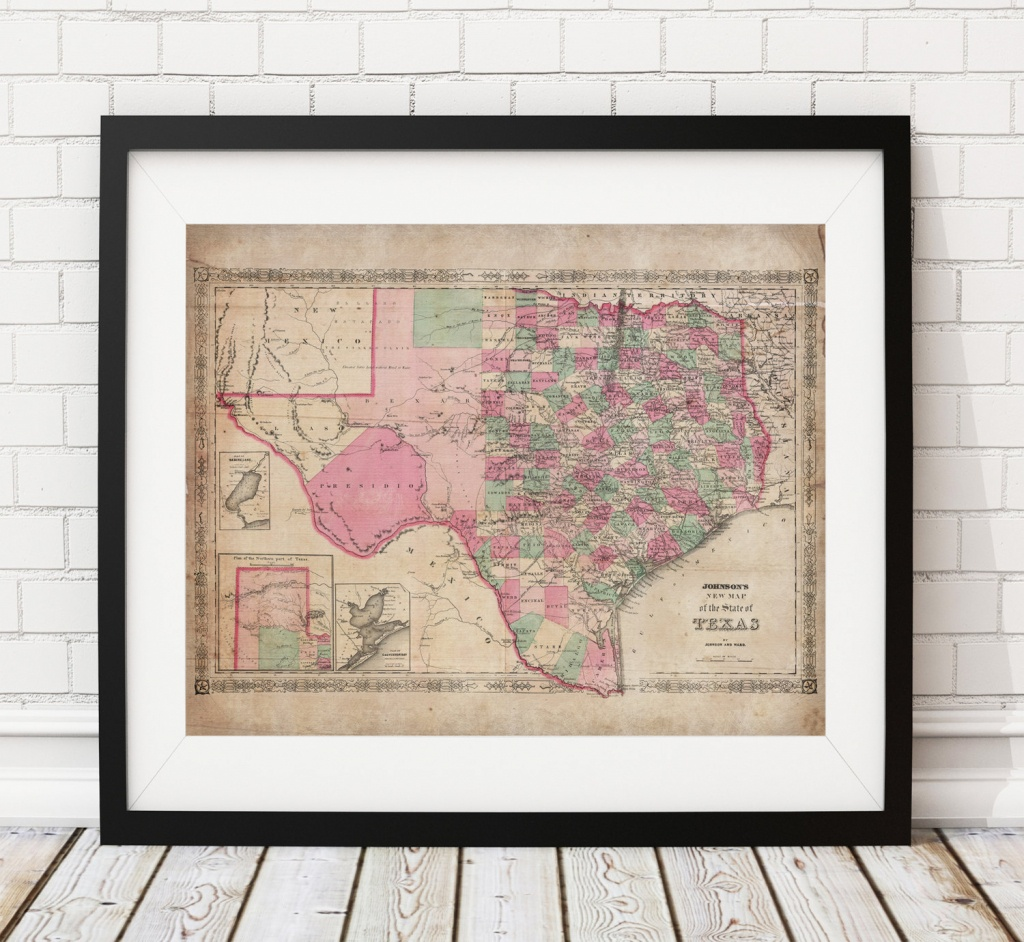 1866 Texas Map Print, Vintage Map Art, Antique Map, Wall Art, Map Of - Old Texas Maps Prints
