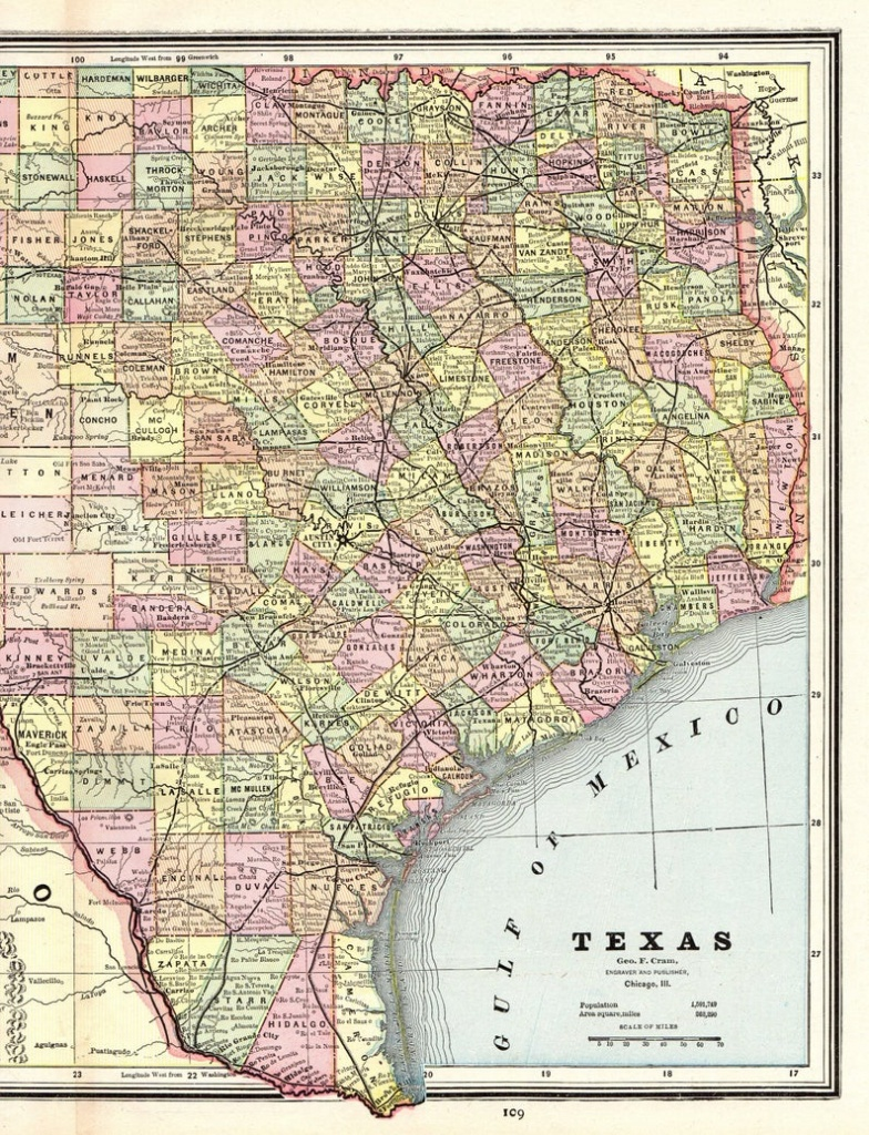 1888 Antique Texas Map Vintage State Map Of Texas Gallery Wall | Etsy - Vintage Texas Map