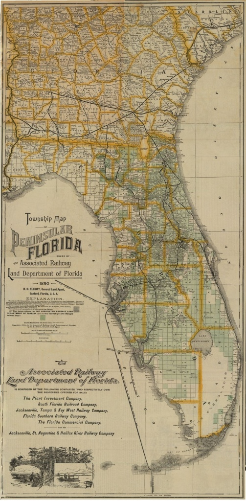1890 - Florida Memory - Township Map Of Florida, 1890   Georgetown - Vintage Florida Maps For Sale