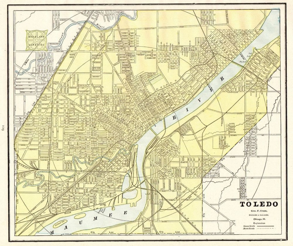 1892 Antique Toledo Ohio Map Vintage Collectible Map Of Toledo Oh - Printable Map Of Toledo Ohio