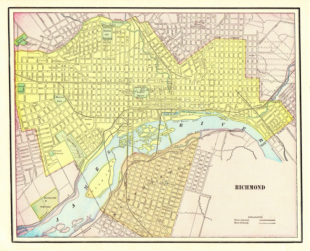 1901 Antique Richmond City Map Reproduction Print Of Richmond - Printable Map Of Richmond Va