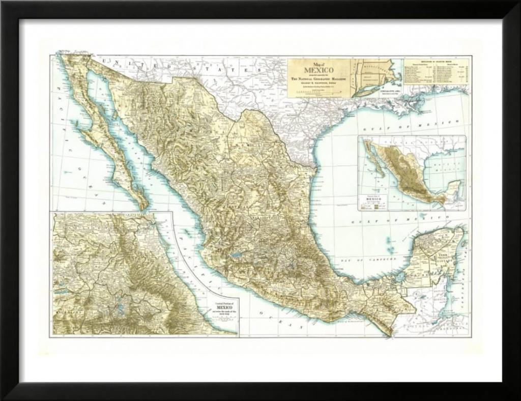 1916 Mexico Map Framed Print Wall Artnational Geographic Maps - National Geographic Printable Maps