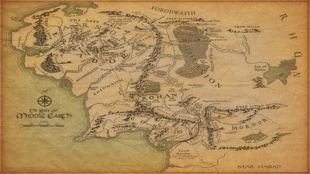 1920X1080 The Map Of Middle-Earth Wallpaper   Art In 2019   Middle - Printable Lord Of The Rings Map