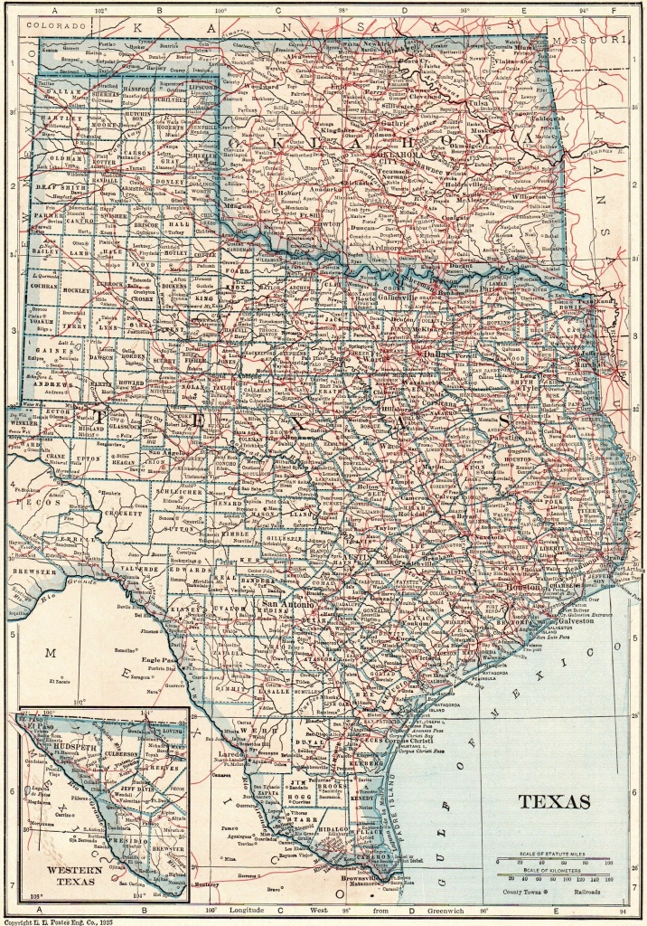 1925 Antique Texas Map Oklahoma Map State Map Of Oklahoma Print - Map Of Oklahoma And Texas