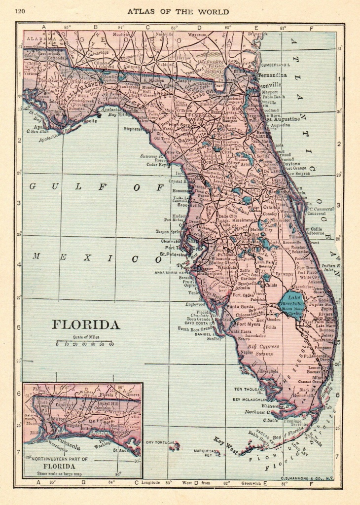 1926 Antique Florida Map Vintage Map Of Florida State Map Gallery - Florida Map Wall Art