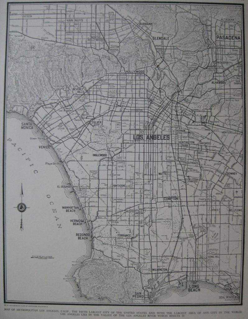 1939 Vintage Los Angeles Map 1930S Antique Atlas Map Plaindealing - Map Of Los Angeles California Area