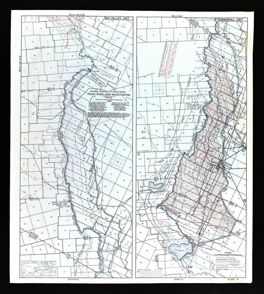 1940 Pecos River Texas Map - Water Table Depths & Wells - Grand - Pecos Texas Map