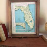 1943 Florida Original Framed Map // Vintage Framed Map Of Florida   Framed Map Of Florida
