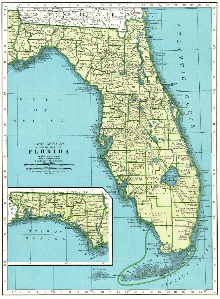 1947 Vintage Florida Map Antique State Map Of Florida Print Gallery - Vintage Florida Map