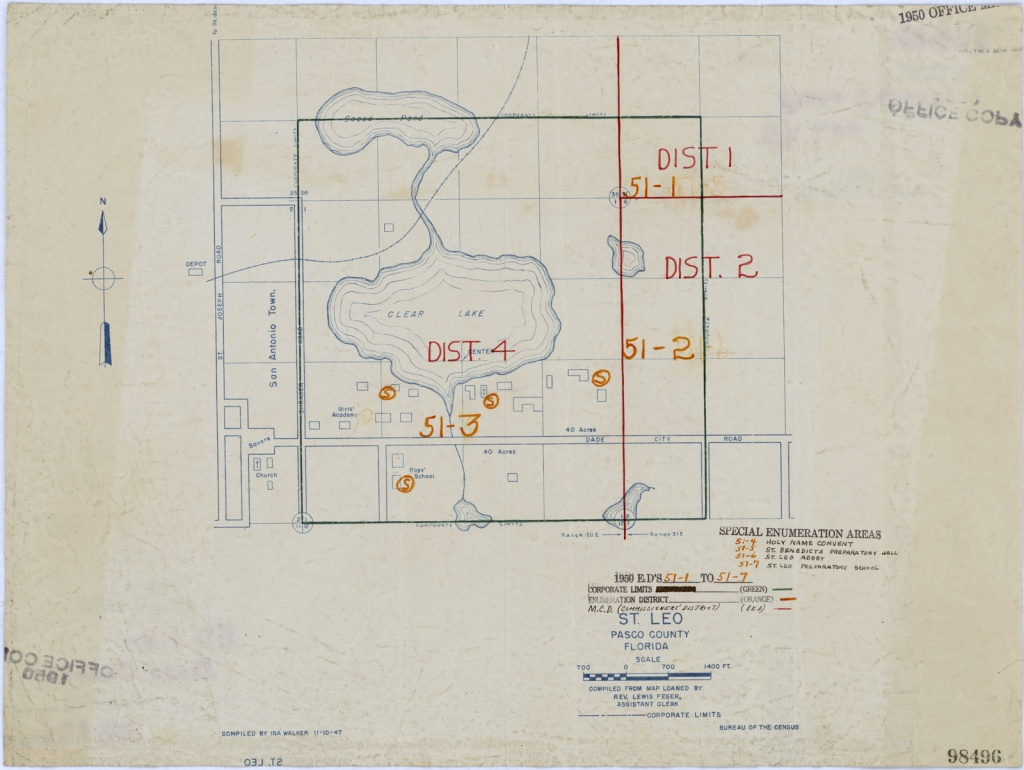 1950 Census Enumeration District Maps - Florida (Fl) - Pasco County - St Leo Florida Map