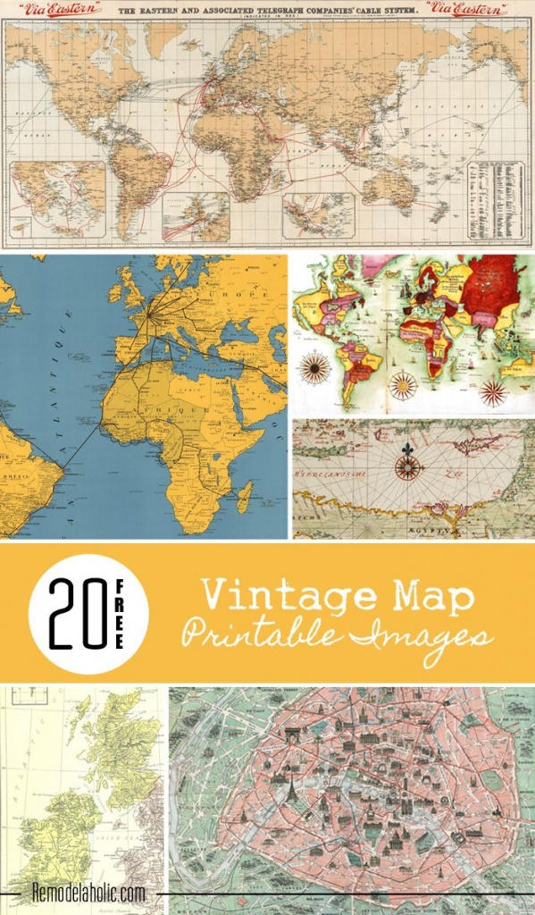 20 Free Vintage Map Printable Images   Remodelaholic #art - Free Printable Maps