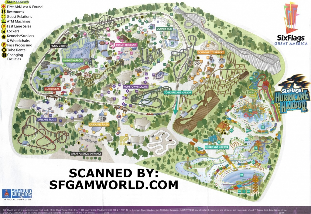 2005Parkmap Great America Park Map 1 - World Wide Maps - Six Flags Great America Printable Park Map