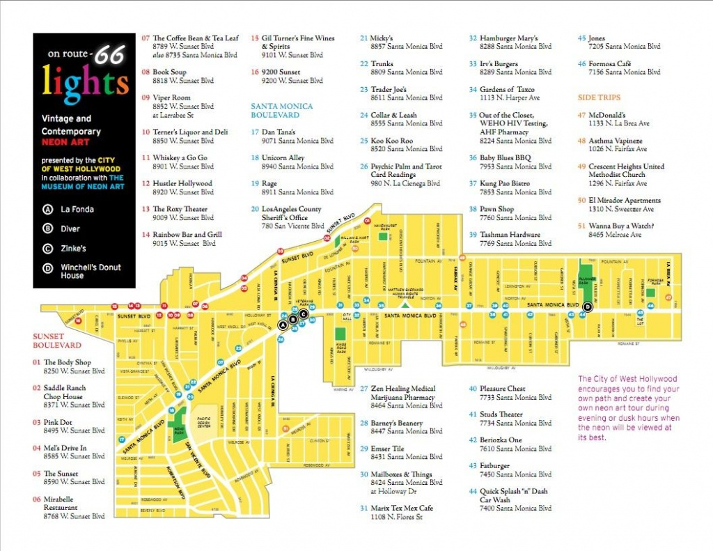 2011 Tour Map Of Neon Signs In West Hollywood, Ca - Member's Gallery - Map Of West Hollywood California