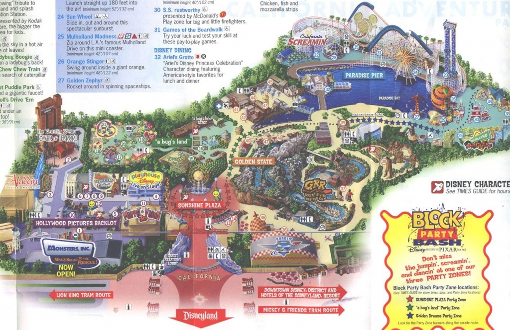 2013 Disneyland Adventure Park Map   Disney's California Adventure - California Adventure Map 2017