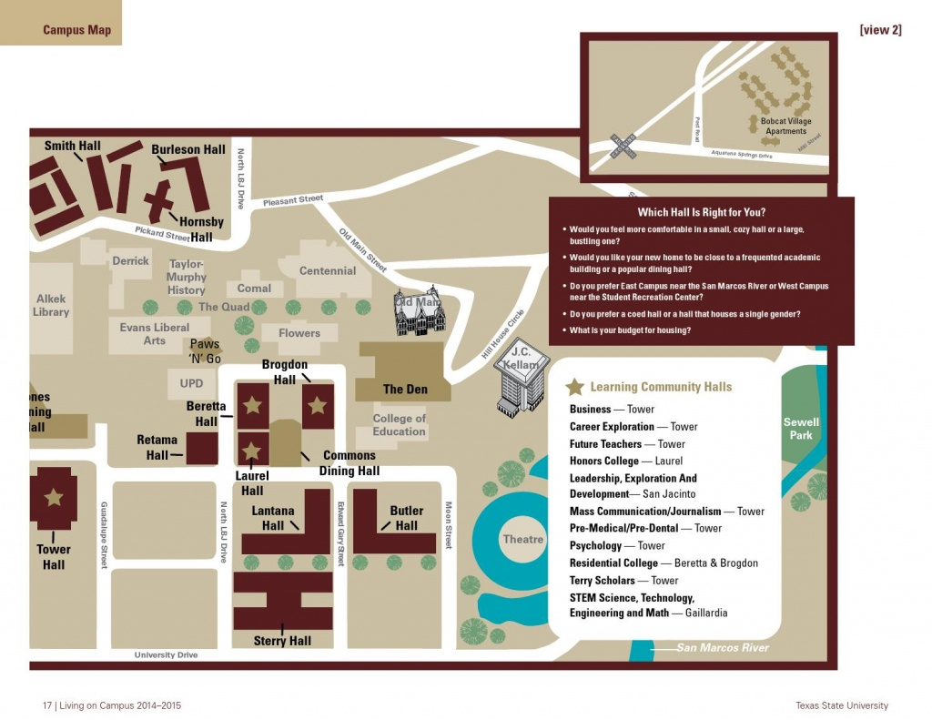 2014-2015 Live Like A Bobcathousing And Residential Life At - Texas State University Housing Map