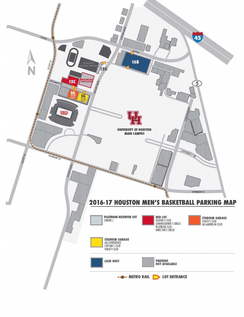 2016-17 Men's Basketball Parking Information - University Of Houston - University Of Texas Football Parking Map 2016