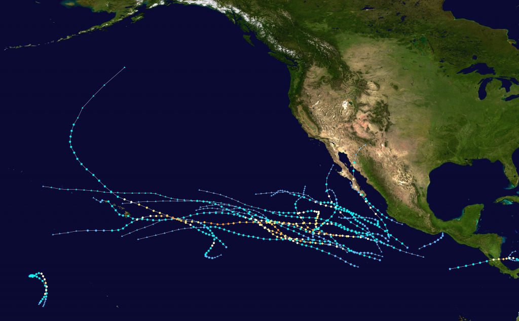 2016 Pacific Hurricane Season - Wikipedia - Printable Hurricane Tracking Map 2016