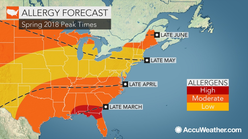2018 Spring Allergy Forecast: Pollen Levels To Soar Early In The - Florida Pollen Map