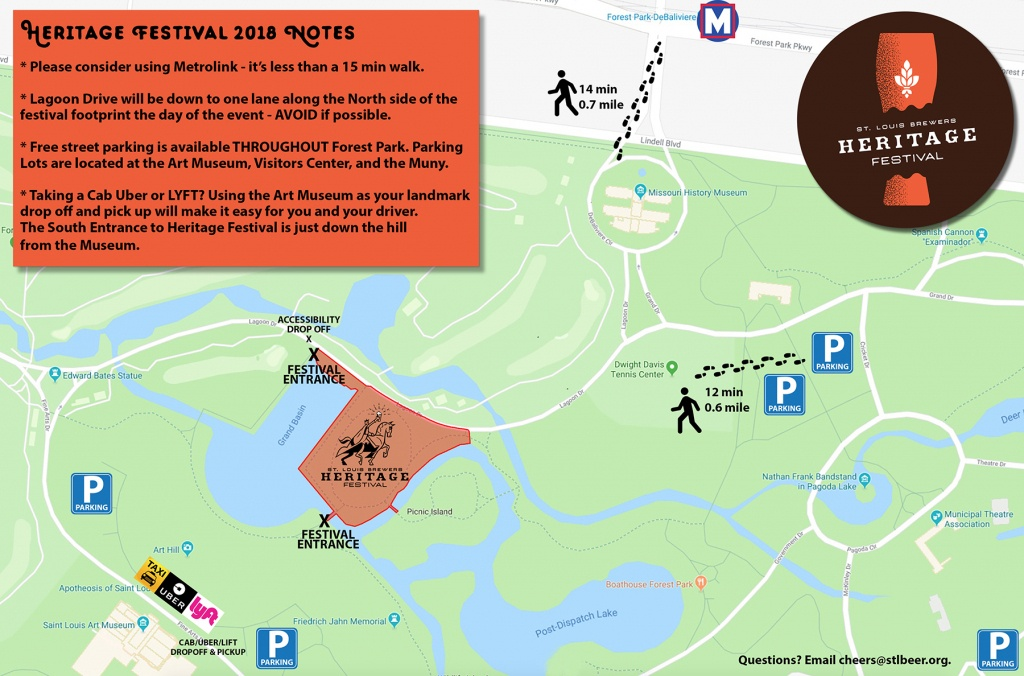 2018 St. Louis Brewers Heritage Festival | Stlbeer - Forest Park St Louis Map Printable