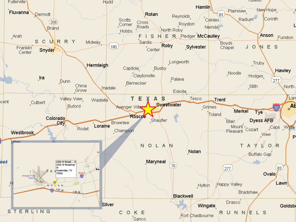 2500 W Broadway St, Sweetwater, Tx | Slj Company, Llc - Sweetwater Texas Map