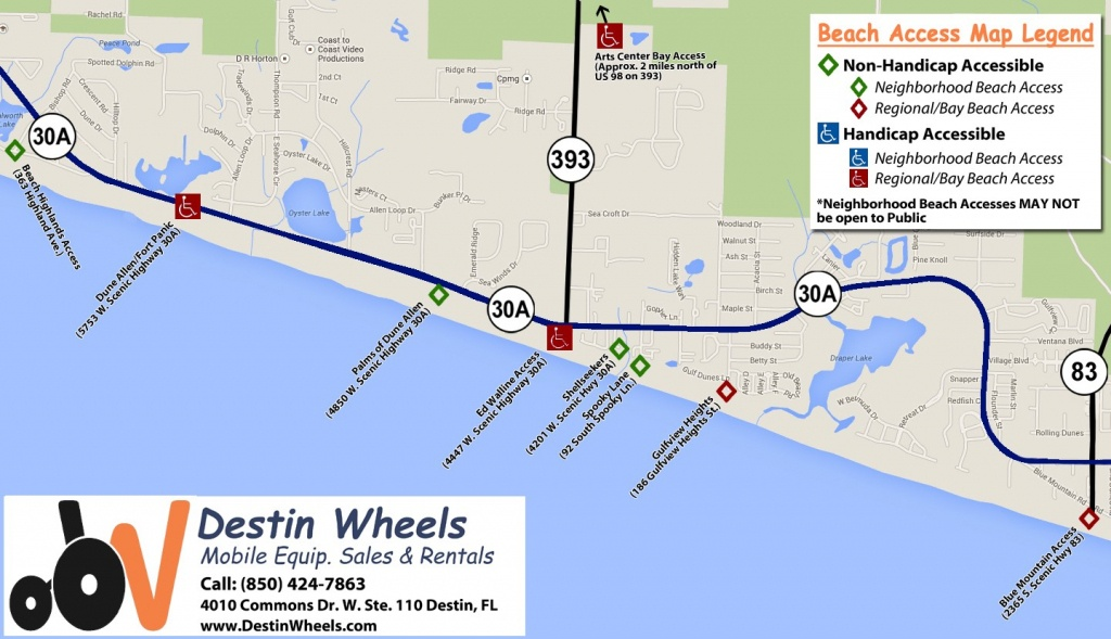 30A & Destin Beach Access - Destin Wheels Rentals In Destin, Fl - Destin Florida Map