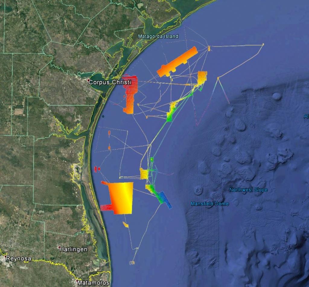 3D Galveston Texas Offshore - Strikelines Fishing Charts - Texas Offshore Fishing Maps