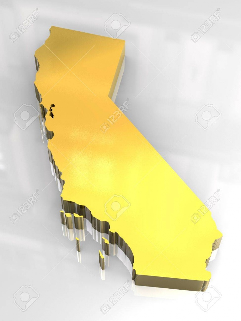 3D Made - Golden Map Og California Stock Photo, Picture And Royalty - 3D Map Of California