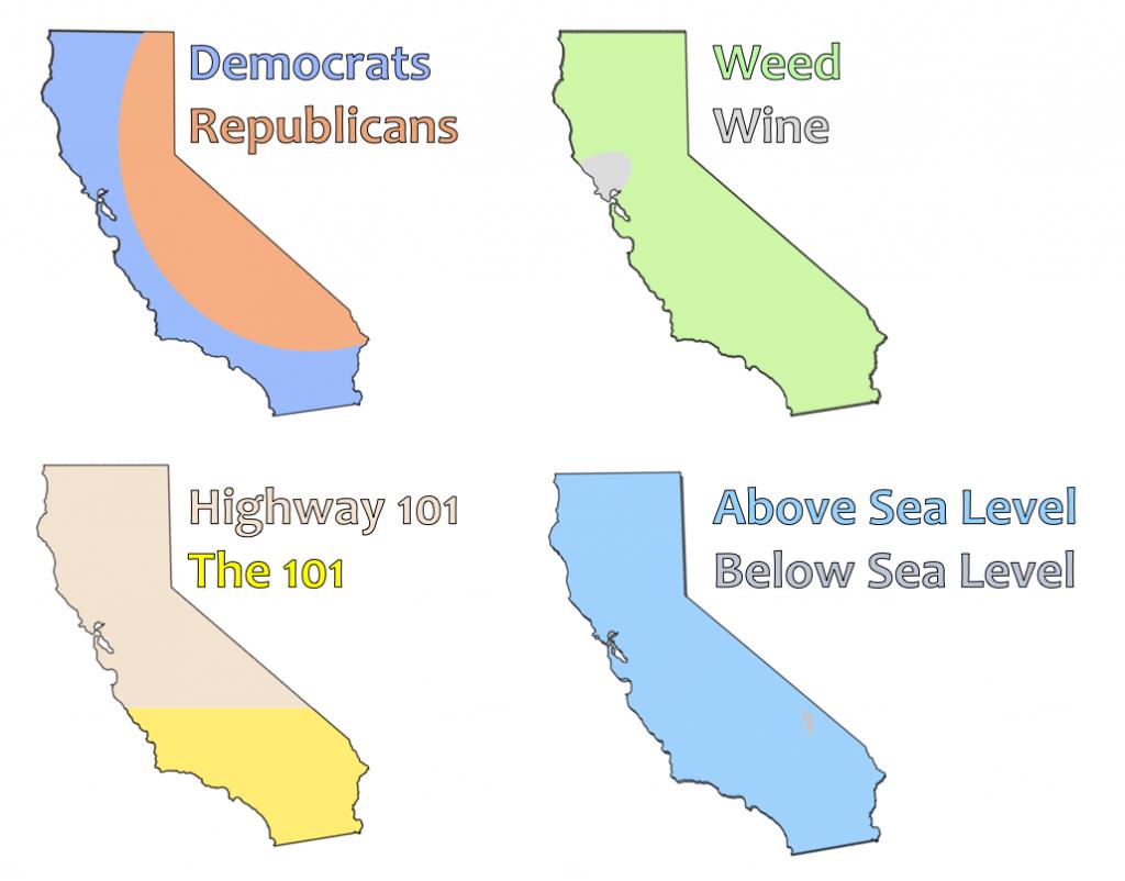 4 Ways To Divide California (Oc) : Losangeles - Divide California Map