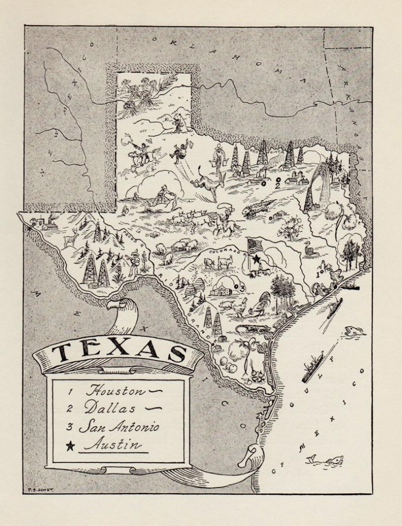 50's Vintage Texas State Map Print Black And White Gallery   Etsy - Vintage Texas Map Prints