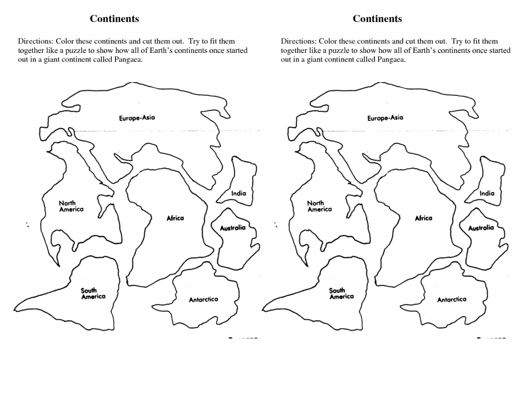 7 Continents Cut Outs Printables | World Map Printable | World Map - World Map Puzzle Printable