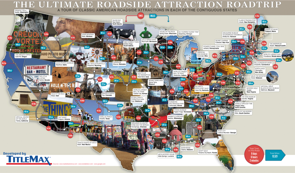 79 Weird Roadside Attractions Road Trip[Infographic] - Titlemax - Roadside Attractions Texas Map