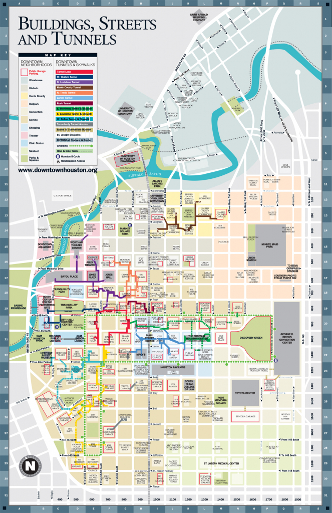 A Detailed Map Of The Underground Tunnel System Beneath Downtown - Downtown Houston Map Printable