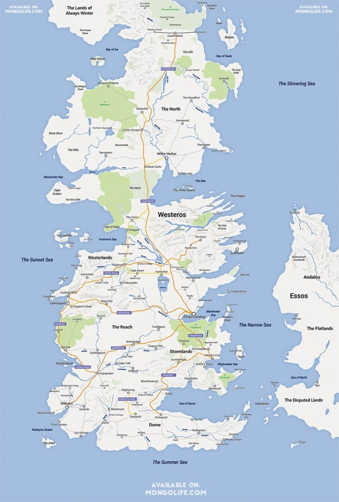 A Game Of Thrones Map, Google Maps Style - Nerdist - Game Of Thrones Printable Map