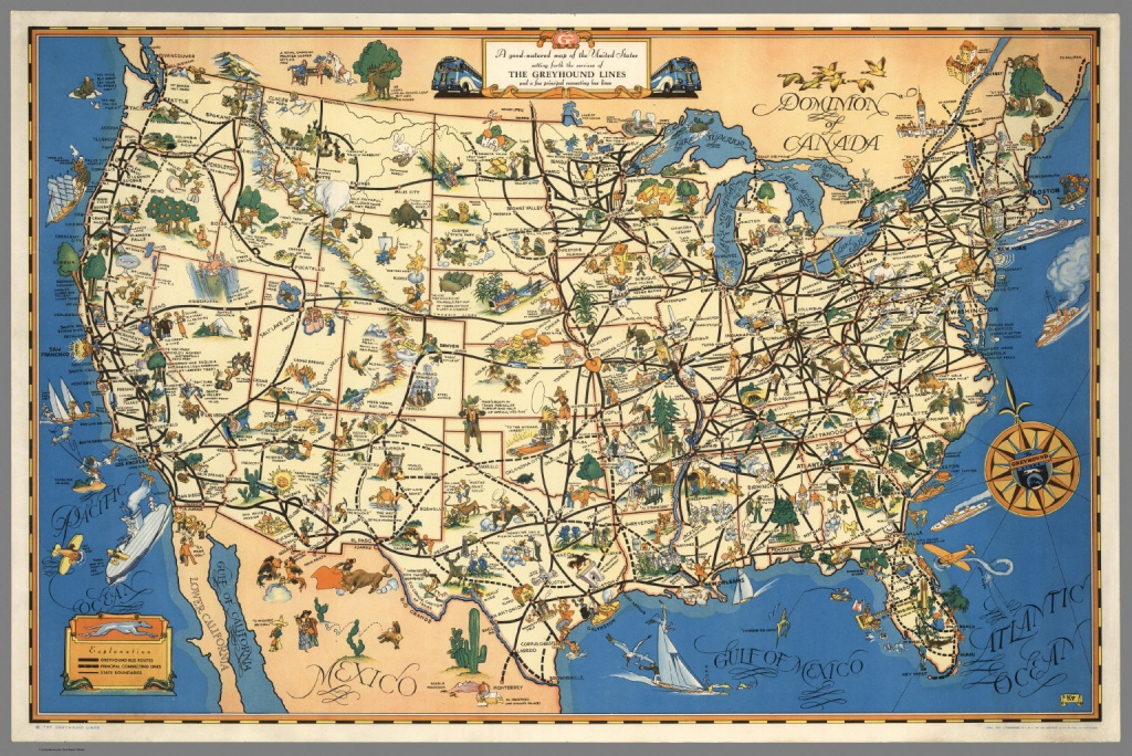 A Good-Natured Map Of The United States Setting Forth The Services - Greyhound Route Map California