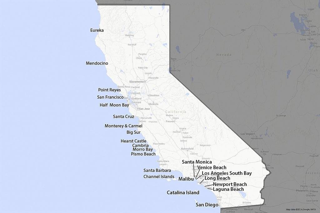 A Guide To California's Coast - Central California Beaches Map