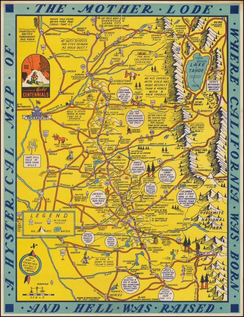 A Hysterical Map Of The Mother Lode Where California Born And Hell - California Mother Lode Map