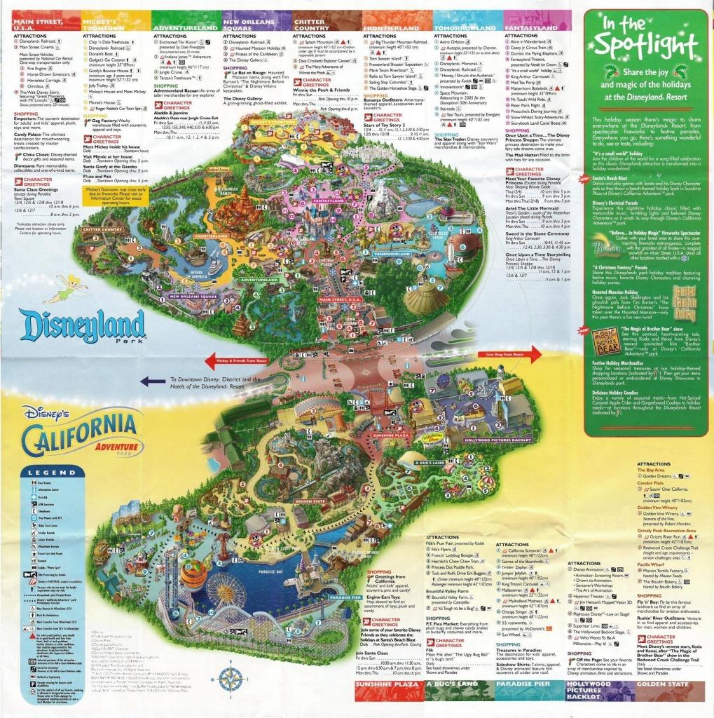 A Map Of Disney's Twin Parks: Disneyland And California Adventure - Disney World California Map