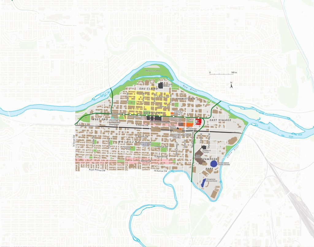 A Map Of Downtown Calgary, Alta., Part Of An Ongoing Series Of City - Printable Map Of Downtown Calgary