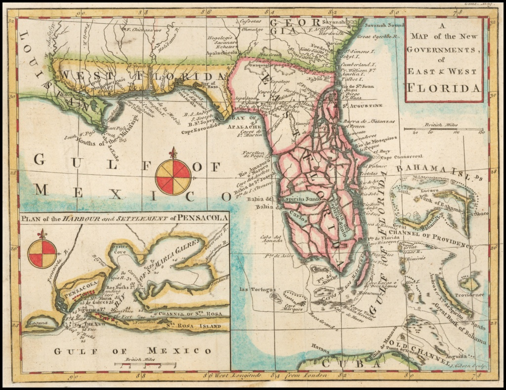 A Map Of The New Governments Of East & West Florida - Barry Lawrence - Early Florida Maps